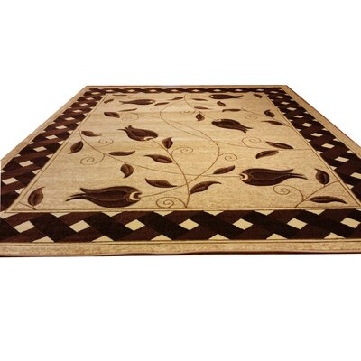 Hand-Carved Beige/Brown Area Rug Rug Size: 711 x 910
