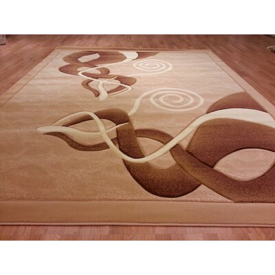 Hand-Carved Brown/Beige Area Rug Rug Size: Round 8