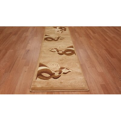 Hand-Carved Brown/Beige Area Rug Rug Size: Runner 2'7
