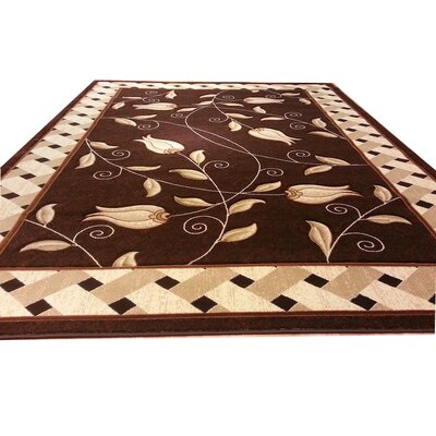 Hand-Carved Brown Area Rug Rug Size: Round 6
