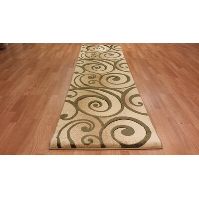 Hand-Carved Beige/Green Area Rug Rug Size: Runner 27 x 146