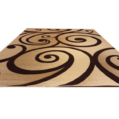 Hand-Carved Beige/Brown Area Rug Rug Size: 53 x 72