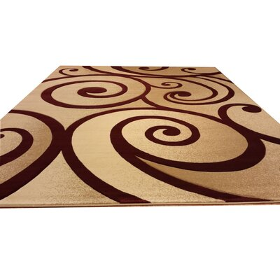 Hand-Carved Beige/Red Area Rug Rug Size: Rectangle 53 x 72