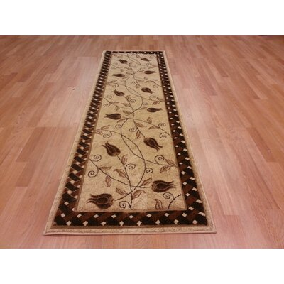 Hand-Carved Beige/Brown Area Rug Rug Size: Runner 27 x 910