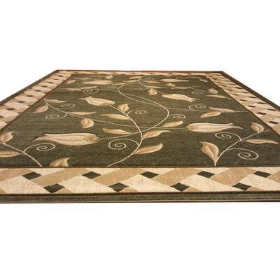 Hand-Carved Beige/Green Area Rug Rug Size: 711 x 910