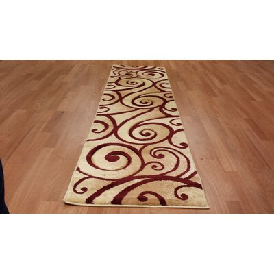 Hand-Carved Beige/Red Area Rug Rug Size: Runner 27 x 91
