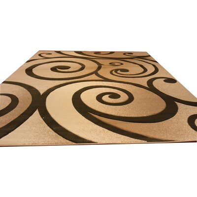 Hand-Carved Beige/Green Area Rug Rug Size: 53 x 72