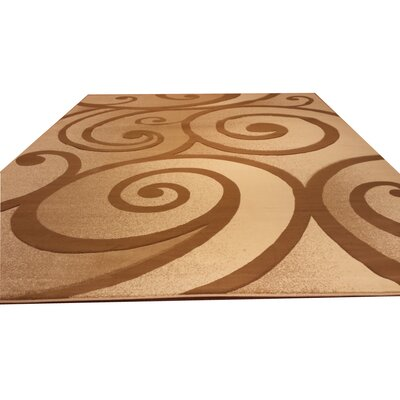 Hand-Carved Beige/Brown Area Rug Rug Size: Rectangle 53 x 72
