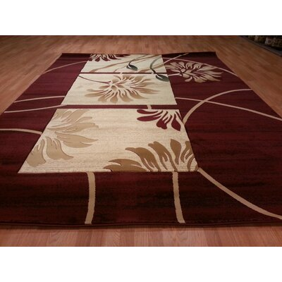 Hand-Carved Red Area Rug Rug Size: Round 6