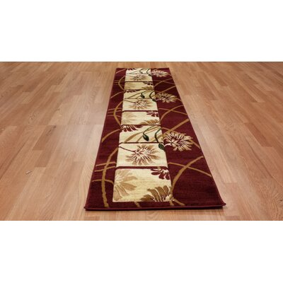 Hand-Carved Red Area Rug Rug Size: Runner 27 x 146