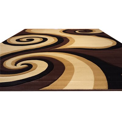 Hand-Carved Black/Brown/Beige Area Rug Rug Size: 711 x 910