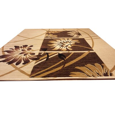 Hand-Carved Beige/Brown Area Rug Rug Size: Runner 27 x 91