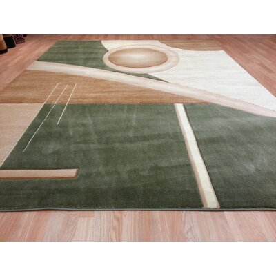 Hand-Carved Green/Beige Area Rug Rug Size: Runner 27 x 146
