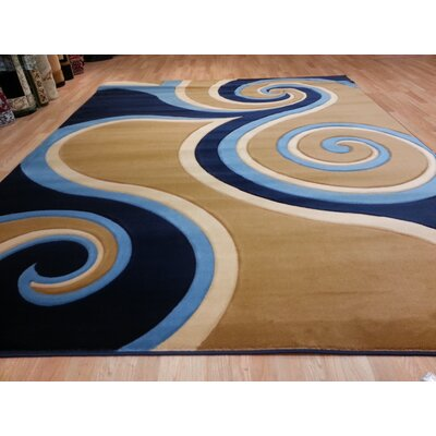 Hand-Carved Blue/Beige Area Rug Rug Size: 53 x 72