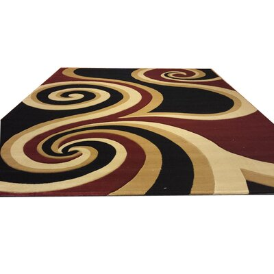 Hand-Carved Black/Brown/Red Area Rug Rug Size: Round 8