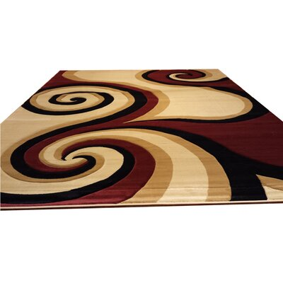 Hand-Carved Red/Black/Brown Area Rug Rug Size: 711 x 910