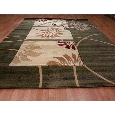 Hand-Carved Green/Beige Area Rug Rug Size: Runner 27 x 910