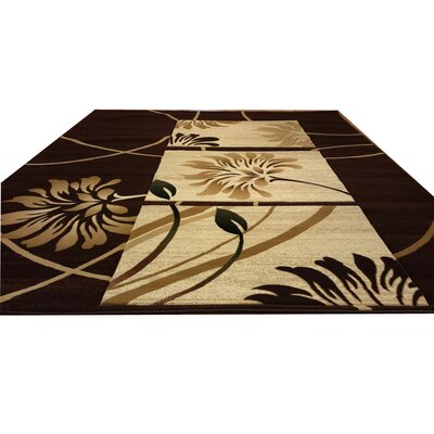 Hand-Carved Brown/Beige Area Rug Rug Size: 711 x 910