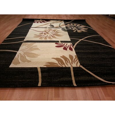 Hand-Carved Black Area Rug Rug Size: Round 8