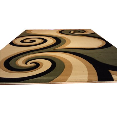 Hand-Carved Green/Biege/Black Area Rug Rug Size: Rectangle 711 x 910