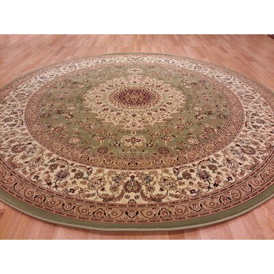 Brown/Green Area Rug Rug Size: Round 8