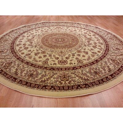 Brown/Beige Area Rug Rug Size: Round 8
