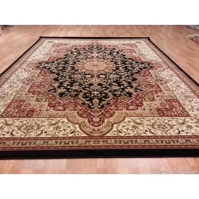 Black/Red/Beige Area Rug Rug Size: Round 8
