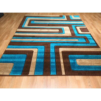 Hand-Carved Blue/Brown Area Rug Rug Size: 53 x 72