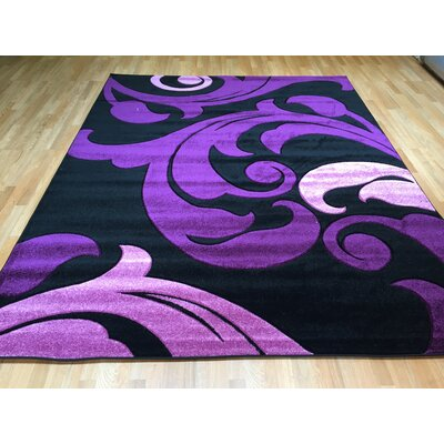 Hand-Carved Purple Area Rug Rug Size: 53 x 72