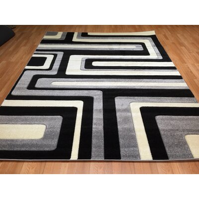 Hand-Carved Black/Gray Area Rug Rug Size: 711 x 910