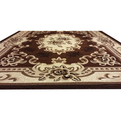 Hand-Carved Brown/Beige Area Rug Rug Size: 10 x 13
