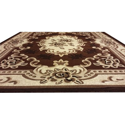 Hand-Carved Brown/Beige Area Rug Rug Size: 4 x 6