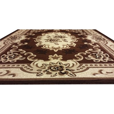 Hand-Carved Brown/Beige Area Rug Rug Size: 3 x 5