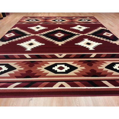 Red Area Rug Size: Rectangle 53x72, Color: Burgundy