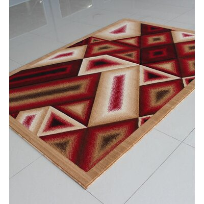 Berber/Red Area Rug Rug Size: 53 x 72