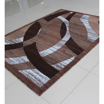 Brown/White Area Rug Rug Size: 711 x 910