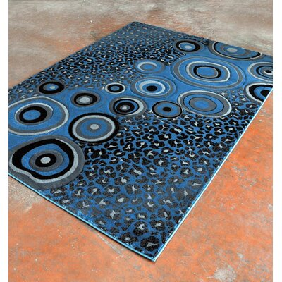 Light Blue/Black Area Rug Rug Size: 53 x 72