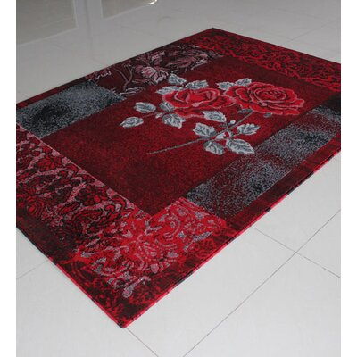 Black/Red/Grey Area Rug Rug Size: 53 x 72