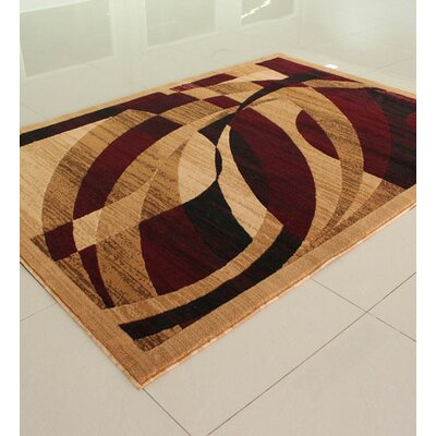 Beige/Burgundy Area Rug Rug Size: Rectangle 4 x 6