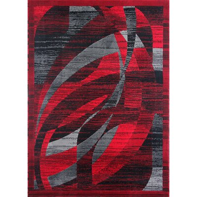 Mccomas Black/Red Area Rug Rug Size: Rectangle 53 x 72