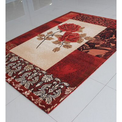 Ivory/Orange Area Rug Rug Size: 711 x 910