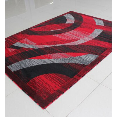 Black/Red Area Rug Rug Size: 53 x 72