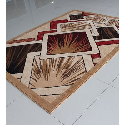 Beige/Red Area Rug Rug Size: 53 x 72