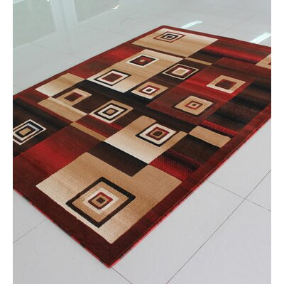 Red/Brown Area Rug Rug Size: 711 x 910