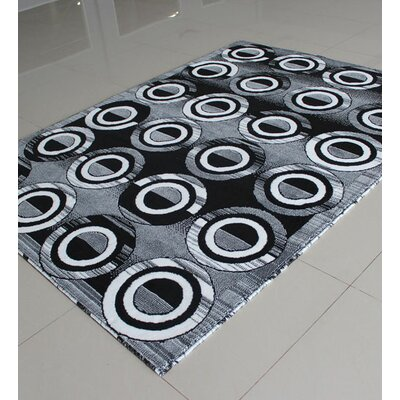 Black/White Area Rug Rug Size: 53 x 72