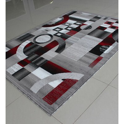 Gray/Red Area Rug Rug Size: 53 x 72