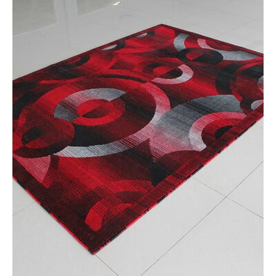 Black/Red/Grey Area Rug Rug Size: Rectangle 53 x 72