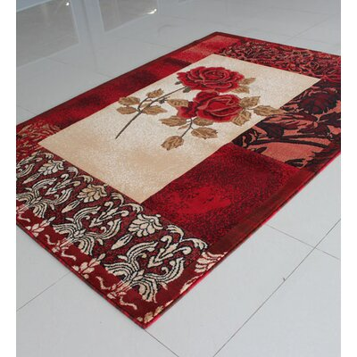 Ivory/Red Area Rug Rug Size: 53 x 72