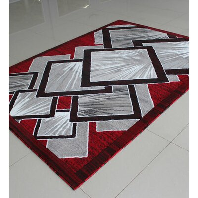 Red/Grey/Black Area Rug Rug Size: 53 x 72