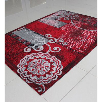Black/Red Area Rug Rug Size: 4 x 6